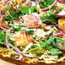 Gluten Free Pizza with Organic Shrimp - Food Photography - Recipe Development